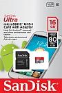 Karta SANDISK ULTRA  ANDROID MicroSDHC 16GB  80Mb/s . Produkt dostępny od ręki!