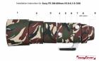 Osłona neoprenowa na obiektyw SONY FE 200-600 f/5-6.3G OSS Green camouflage w produkcji
